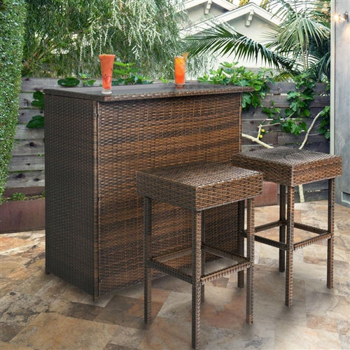 Outdoor Natural Elements 3-Piece PE Wicker Bar Set with Table and Stools