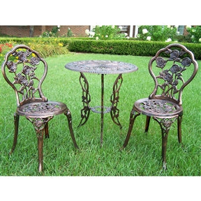 3 Piece Bistro Rose Garden Set Cast Leaf Design Antique Outdoor Furniture