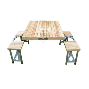 Outdoor Portable Wood One Piece Folding Integrated Table
