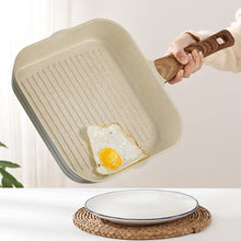 Natural Elements White Non-stick Square Grill Pan with Wood Cover