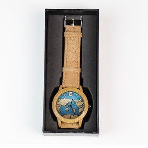Natural Elements World Map Watch with Cork Strap