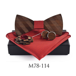 Natural Elements Square Brooch Tie Hanky Cuff Link Striped Wooden Bow Tie Set