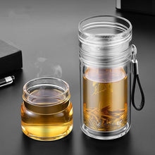 550ml Double Wall Portable Glass Bottle With Tritan Herbal Infuser