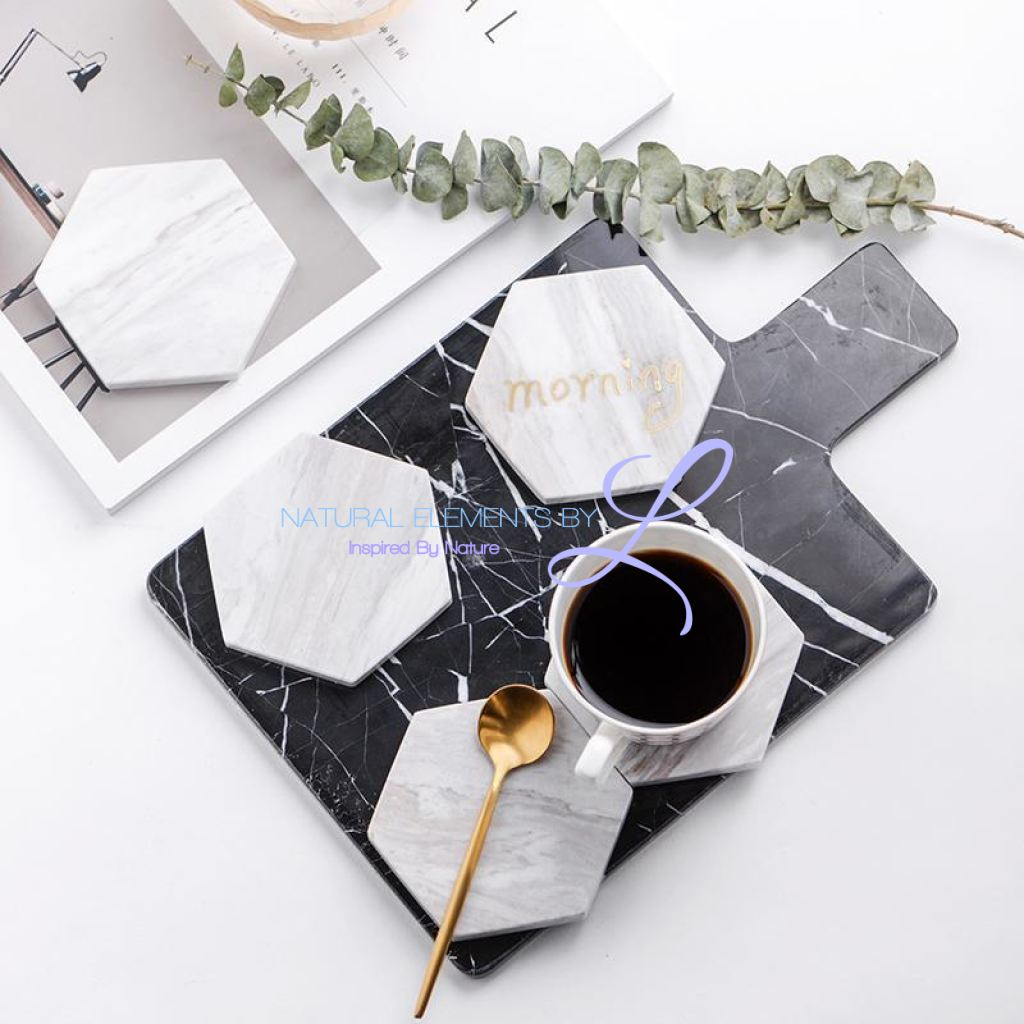 Chic Green Marble Pattern Ceramic Drink Coasters