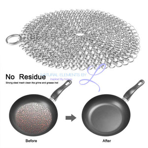 Fums Stainless Steel Chainmail Scrubber Rust Proof Scraper Cast Iron Cleaner For Pots Skillets Pans Bbq Grills Cookware
