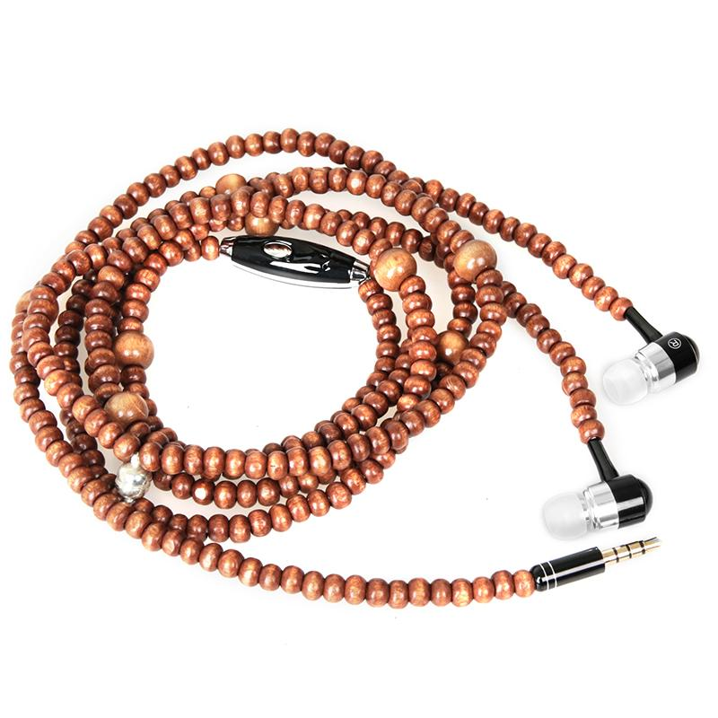 Headset - Natural Wooden Beads Necklace In-Ear Wooden Diamond Earphone With Microphone