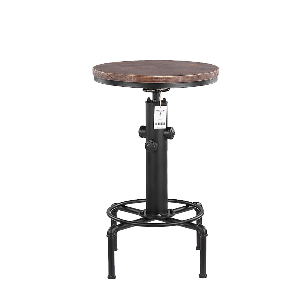Natural Elements Pinewood Top Round Pub Bar Table Height Adjustable - Cheap round bar table