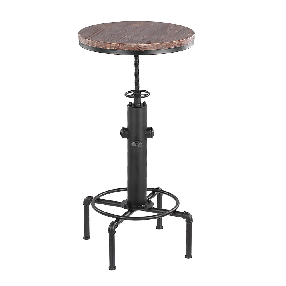 Natural Elements Pinewood Top Round Pub Bar Table Height Adjustable Swivel Counter