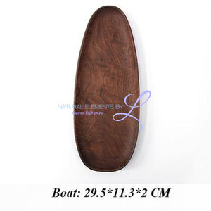 Irregular Creativity Tableware Coffee Wood Plate Serving Tray Boat