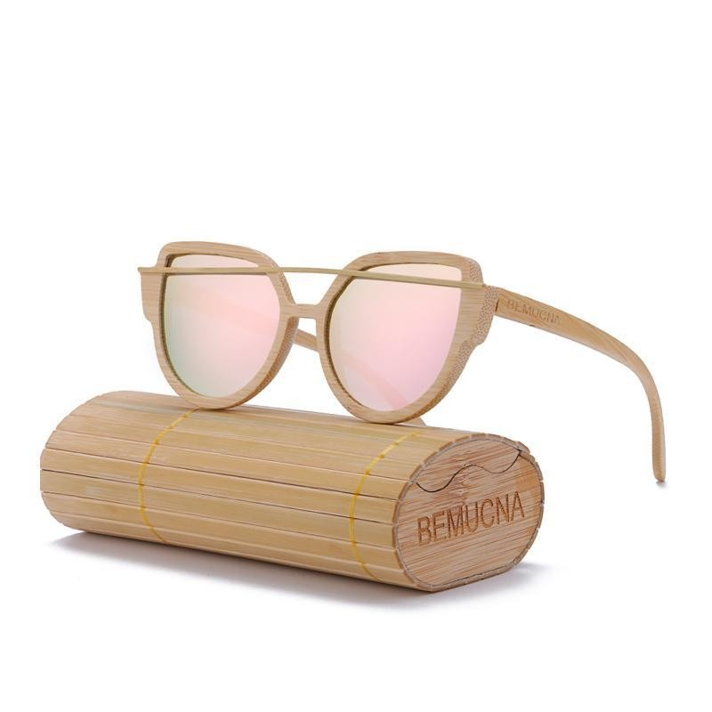 676baa0613 Ladies Sunglasses - BEMUCNA Polarized Womens Cat Eye Handmade Exquisite  Wooden Sunglasses