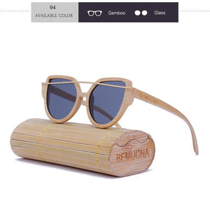 Ladies Sunglasses - BEMUCNA Polarized Womens Cat Eye  Handmade Exquisite Wooden Sunglasses