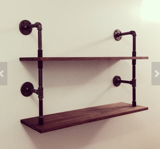 Loft Style Industrial Rustic Urban Iron Wall Mounted Shelf 2 Layers