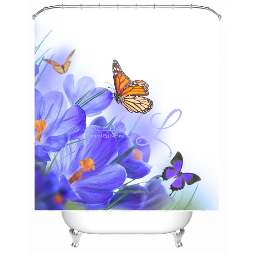 Luxury Butterfly / Red Rose 3D Waterproof Shower Curtain Style1 W150Cm X H180Cm