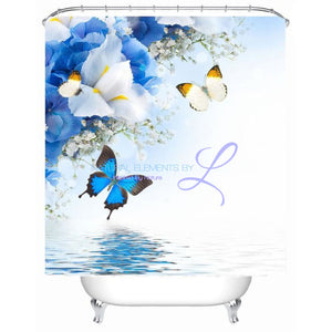 Luxury Butterfly / Red Rose 3D Waterproof Shower Curtain Style2 W150Cm X H180Cm