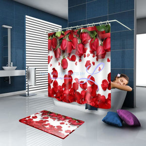 Luxury Butterfly / Red Rose 3D Waterproof Shower Curtain Style3 W150Cm X H180Cm