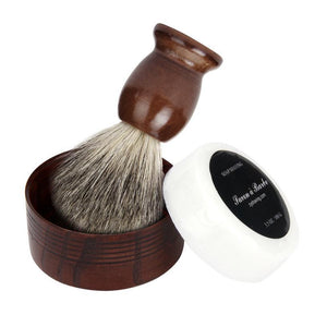 Mens - Badger Hair Shaving Natural Wood Mug Bowl And Brush Handmade Set