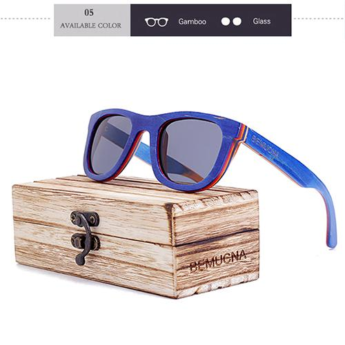 Mens Sunglasses - BEMUCNA All Natural Wood Polarized Sunglasses UV400 With Box