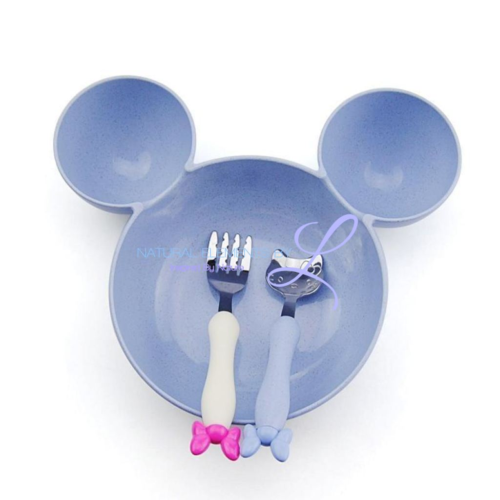 Minnie Bowl Hello Kitty Utensils Tableware Set For Children Blue Mickey