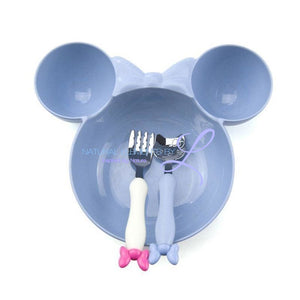 Minnie Bowl Hello Kitty Utensils Tableware Set For Children Blue