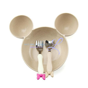 Minnie Bowl Hello Kitty Utensils Tableware Set For Children Cream Mickey