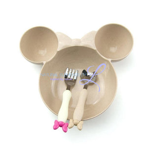 Minnie Bowl Hello Kitty Utensils Tableware Set For Children Cream