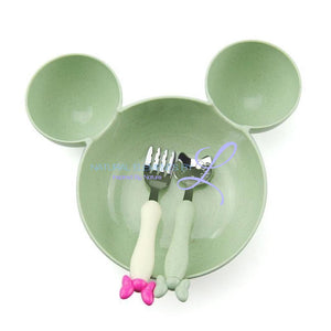Minnie Bowl Hello Kitty Utensils Tableware Set For Children Green Mickey