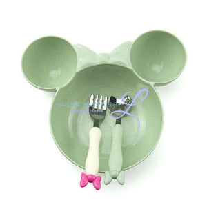 Minnie Bowl Hello Kitty Utensils Tableware Set For Children Green