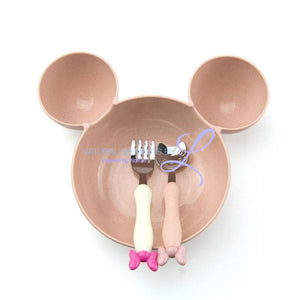 Minnie Bowl Hello Kitty Utensils Tableware Set For Children Pink Mickey