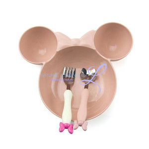 Minnie Bowl Hello Kitty Utensils Tableware Set For Children Pink