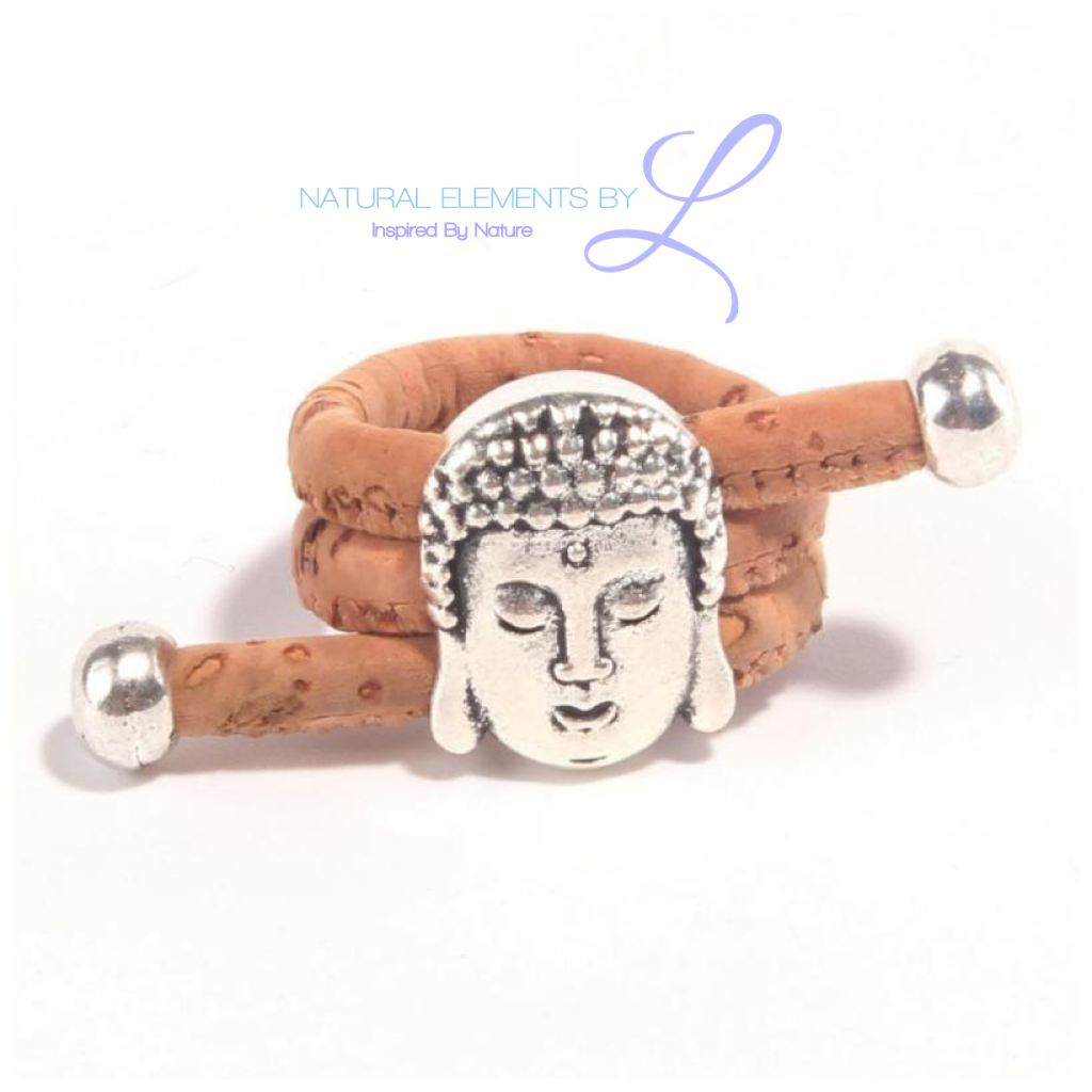 Natural Antique Silver Buddha Head Vintage Women Cork Ring
