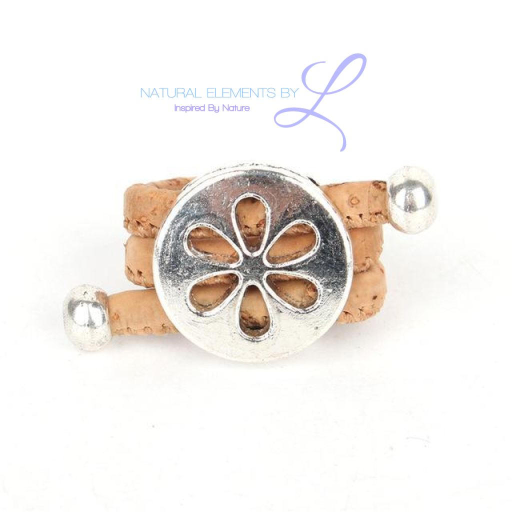 Natural Cork Antique Hollow Flower Vintage Ring Resizable /
