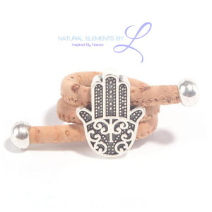 Natural Cork Antique Silver Fatima Hand Vegan Ring