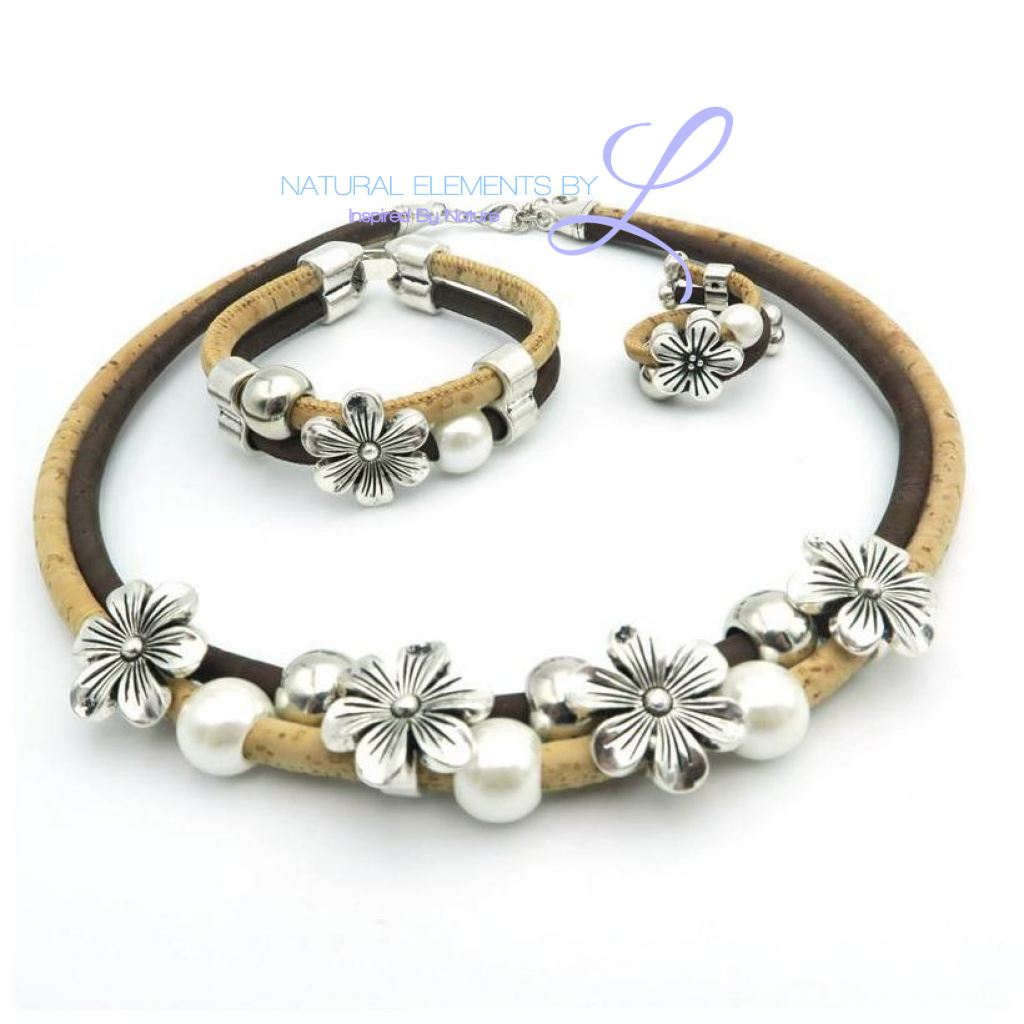 Natural Cork Flower With Pearl Vegan Jewelry Set Necklace Bracelet