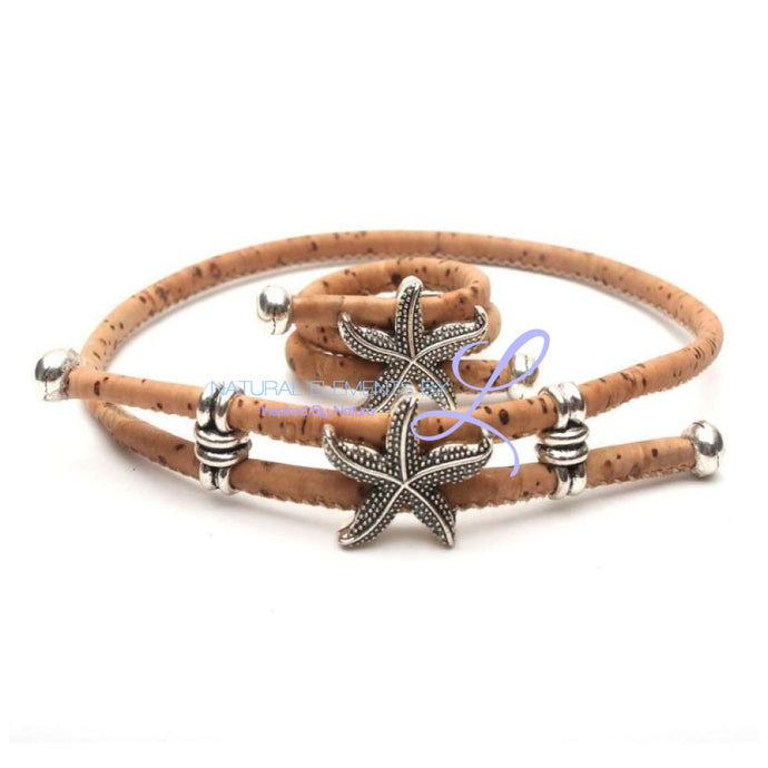Natural Cork Handmade Starfish Ring And Bracelet Set