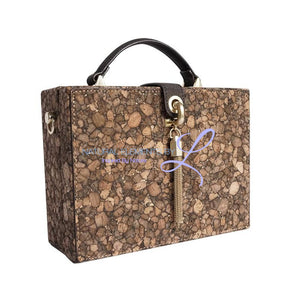 Natural Cork Vintage Petite Malle Zipper Small Clutch Crossbody Shoulder Bag Handbags