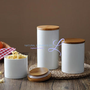 Natural Design Ceramic Sealing Pot Storage Bottle Jar With Bamboo Cover