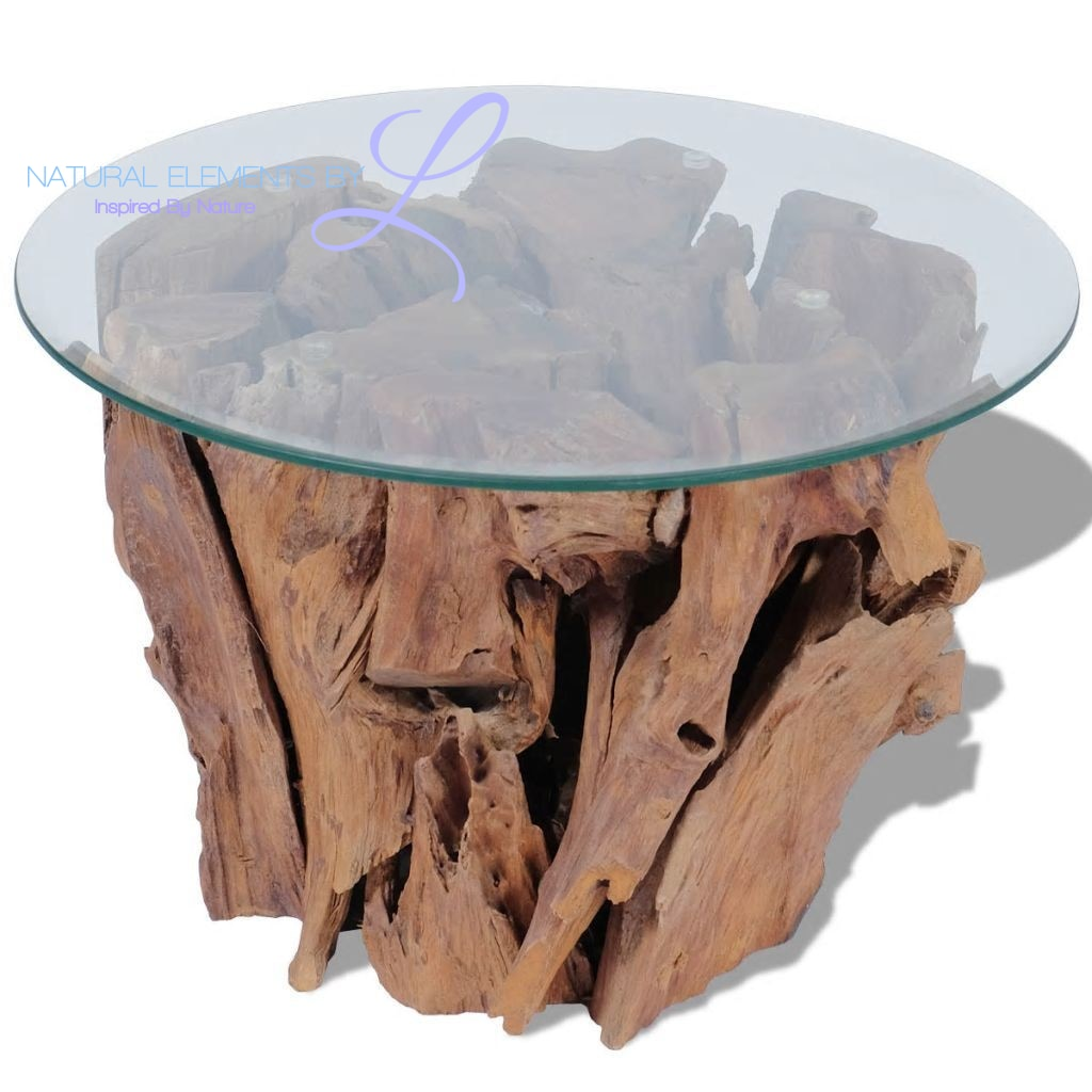 Natural Elements Unique Teak Wood Accent Coffee Table