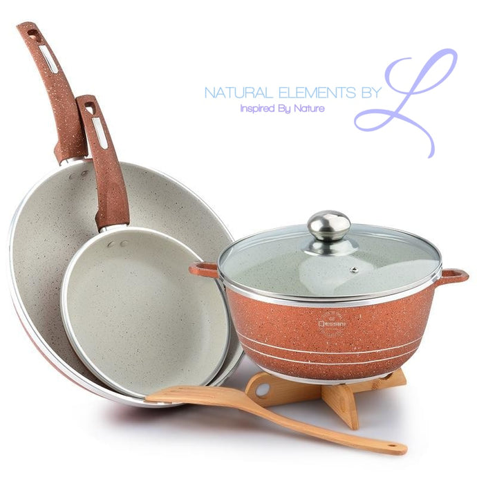 Elements Queen Time 2- 3 pc Non-Stick Frying Pan Cookware Set + Free Wooden Utensils Combo