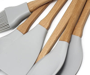 Natural Elements 6pc set Utensils Light Grey Food Grade Silicone Wood Handle