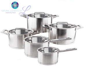 Natural Elements 10pc  Stainless Steel Casserole Skillet Saucepan