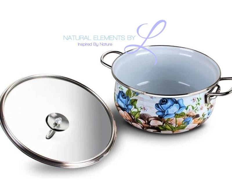 Natural Elements 4PC Porcelain Enamel Palace Style Cookware Set Stockpot + Wok Pan Cooking Pan