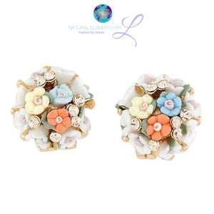 Jewelry - Small Flowers Ceramic Flower Earrings Beige