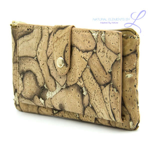 Natural Elements Cork Abstract Zipper Wallet Raw Cork Bag-350-D