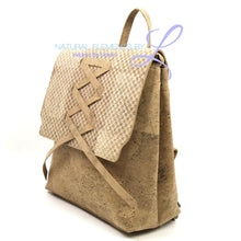Natural Elements Cork Vegan Lady Backpack White Weaving Pattern Bags Double Handle 310-C