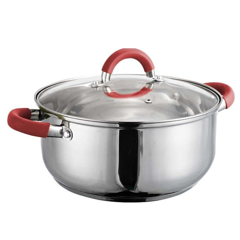 24cm Stainless Steel Pot Red Silicone Handles