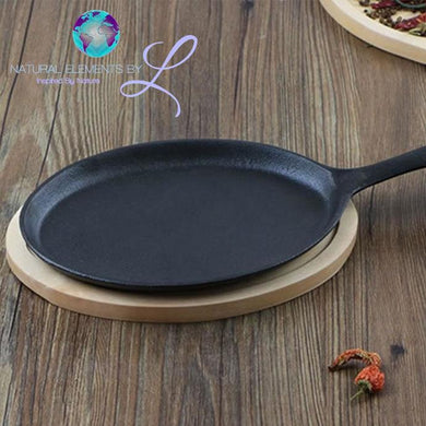 Natural Elements Oval Cast Iron Pizza Pan Non-stick Smoke-free