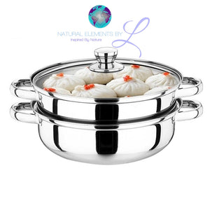 Natural Elements Stainless Steel Pot And Steamer With Glass Lid