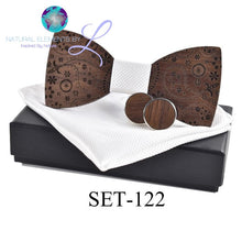 Natural  Elements Wooden Bow Tie Cuff inks Handkerchief Handmade Set
