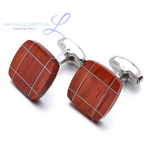 Natural Elements Luxury Rose Wood Stainless Steel Cufflinks