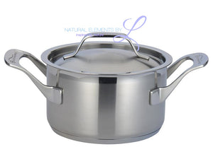 Natural Elements Top Quality 9pc Stainless Steel Healthy Fry Pan +3 Layer Steamer Soup Pot